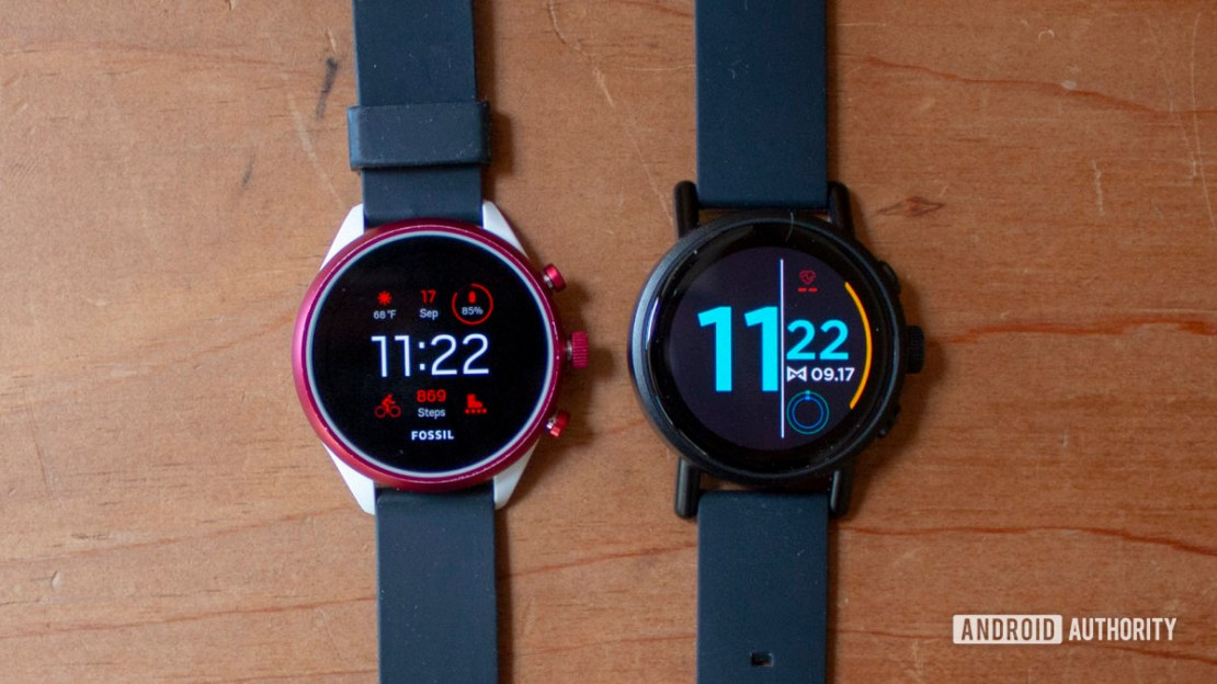 Misfit Vapor X Smartwatch Right next to Fossil Sport Left both showing front displays