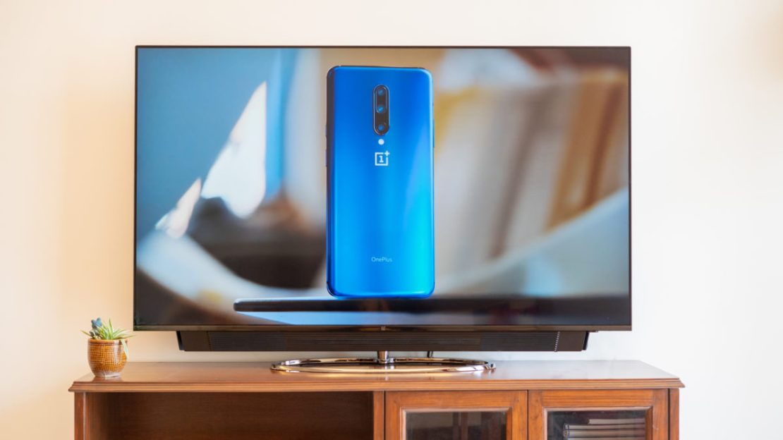 OnePlus TV with display on