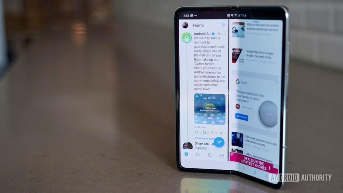 Samsung Galaxy Fold Review on a counter
