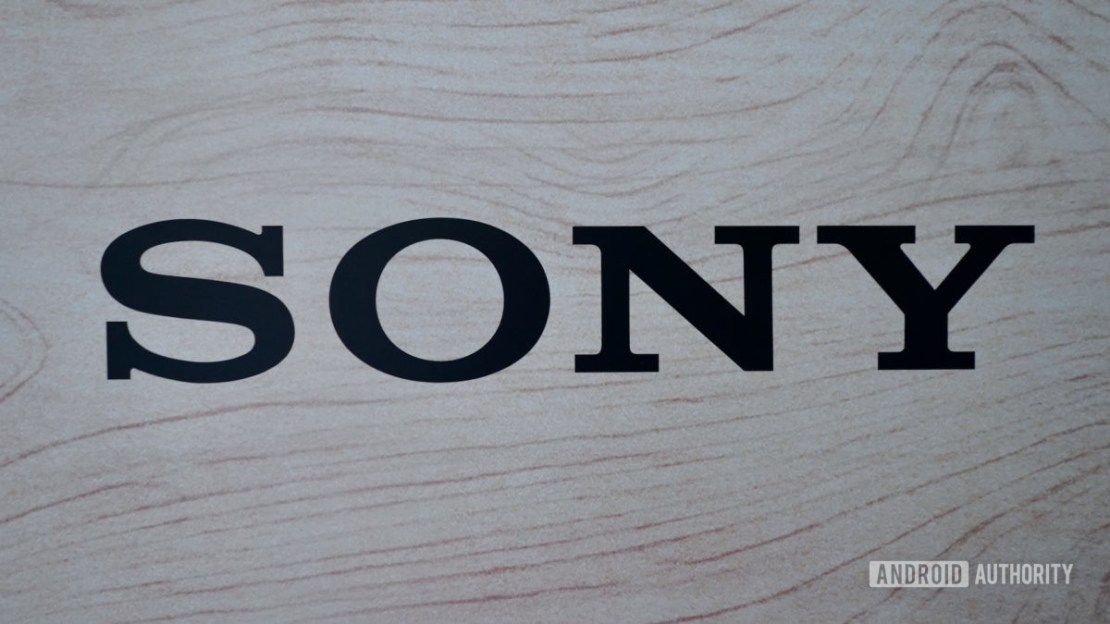 Sony logo black on wood