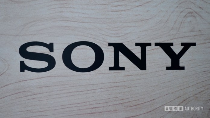 Sony logo black on wood