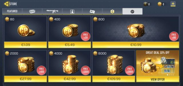 call of duty mobile currency