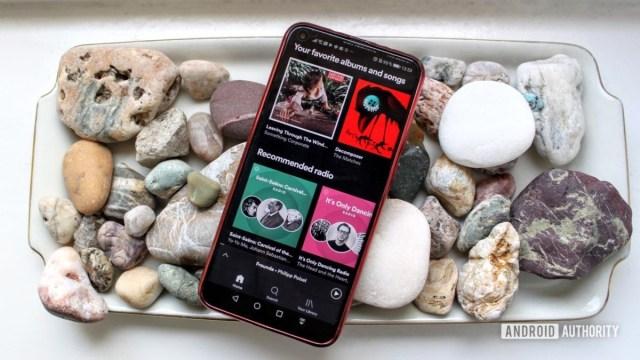 Akıllı telefondaki kayaların üzerinde Spotify menüsü
