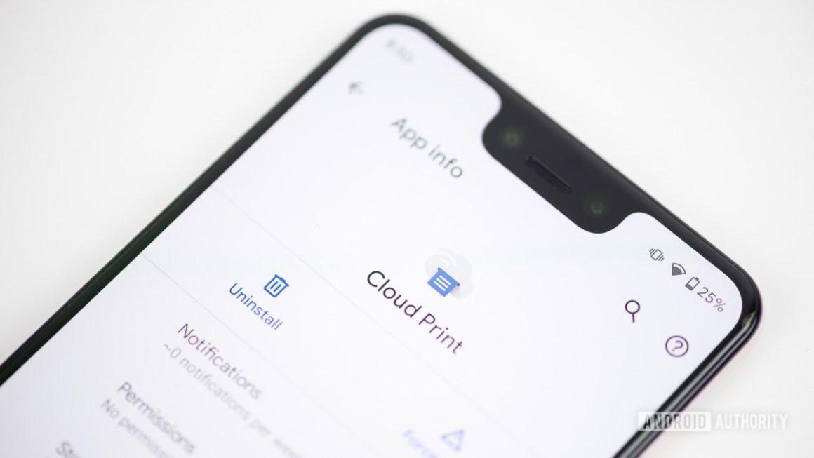 Приложение Google Cloud Print на смартфоне
