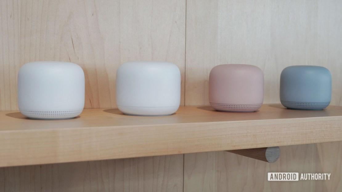Google Nest Wi Fi color options on a shelf