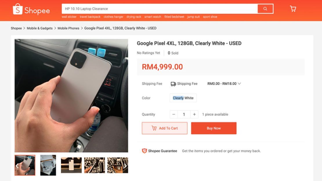 Google Pixel 4 Black Market Sale on Shopee