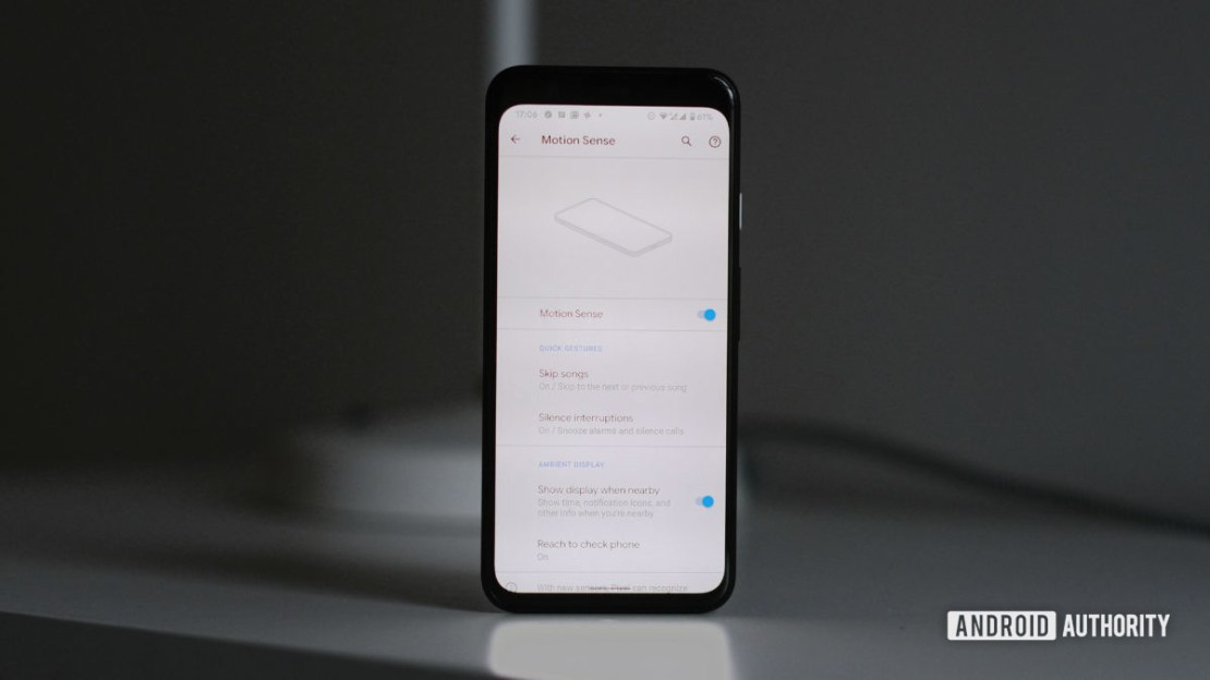 Google Pixel 4 Motion Sense menu for Soli radar
