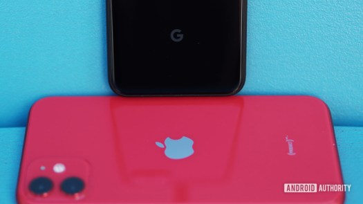 Google Pixel 4 logo on Apple iPhone 11 logo