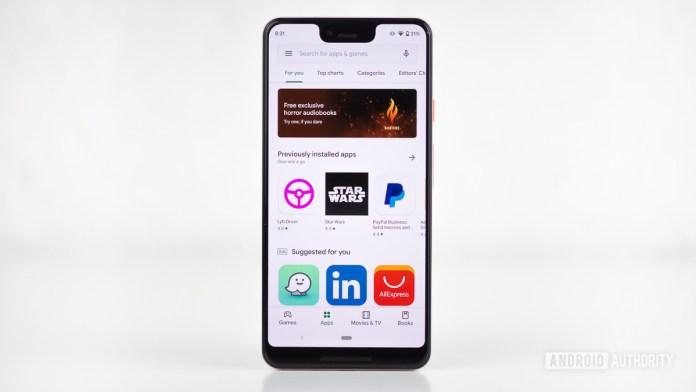 La aplicación Google Play Store aparece en el teléfono inteligente Pixel 3