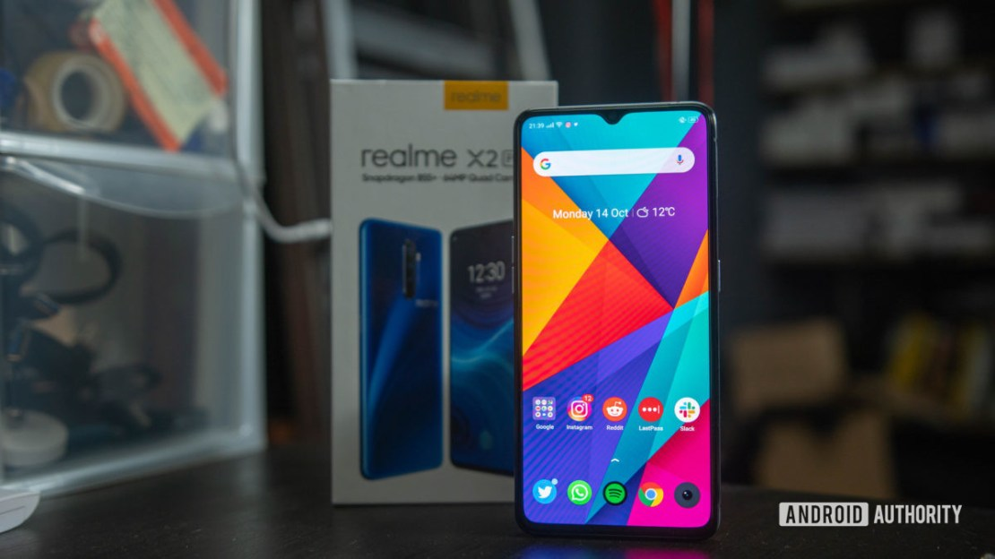 Realme X2 Pro Screen on in front of box 1