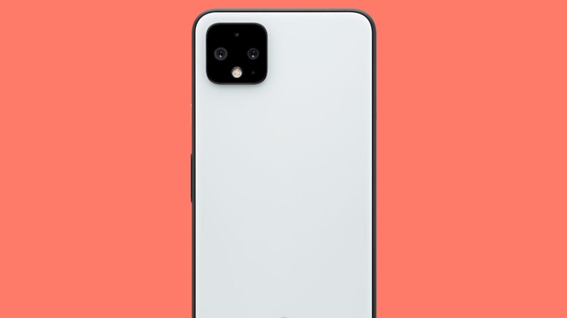 google pixel 4 xl clearly white back with orange background