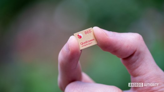 Qualcomm Snapdragon 865 processor in hand front