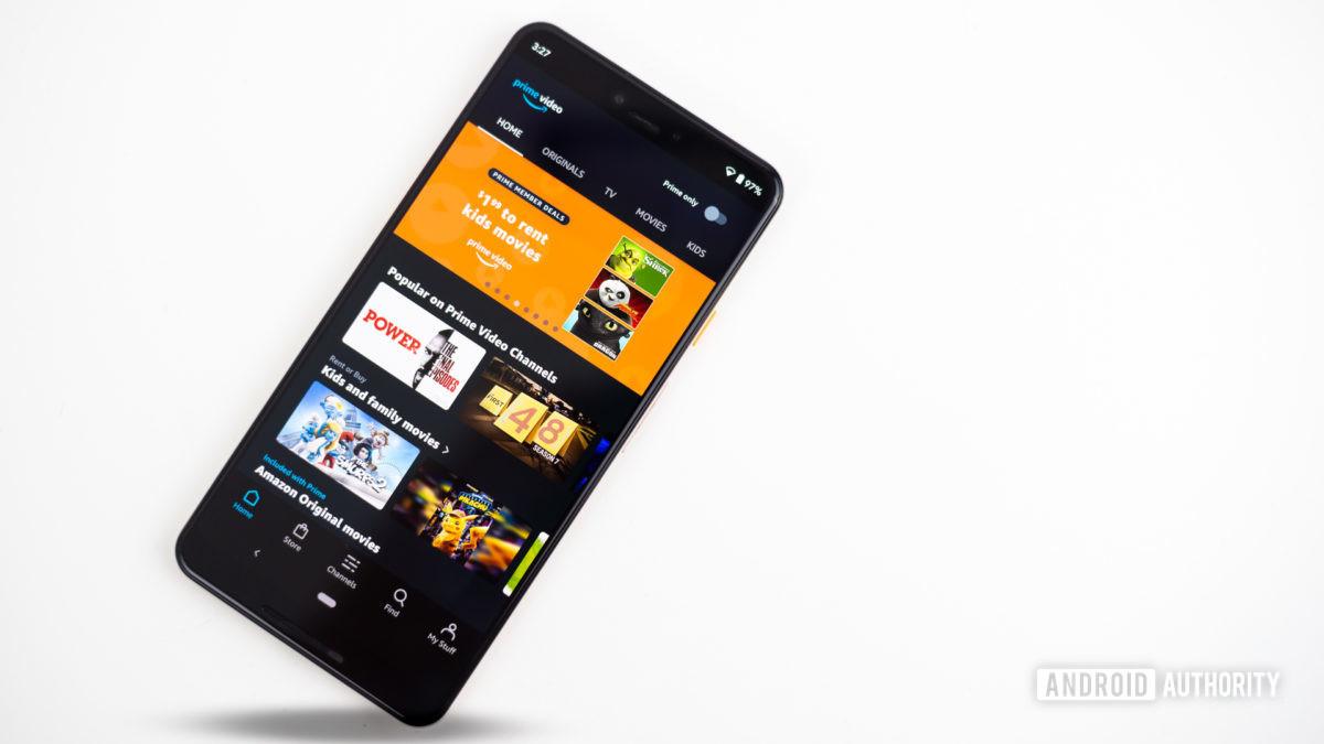 Vídeo da Amazon Prime mostrado na foto do smartphone