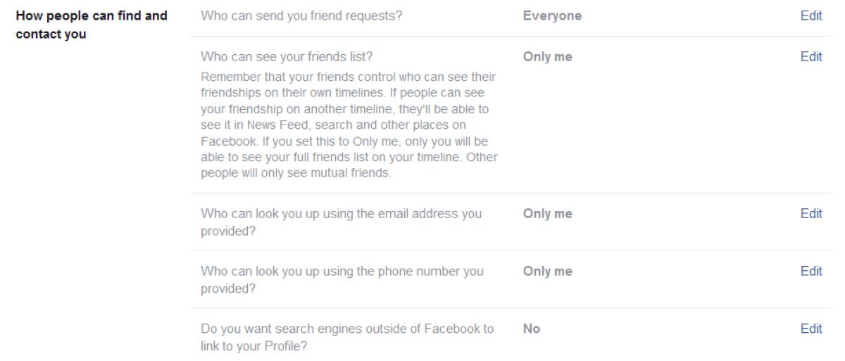 Результаты поисковой системы Настройки конфиденциальности Facebook