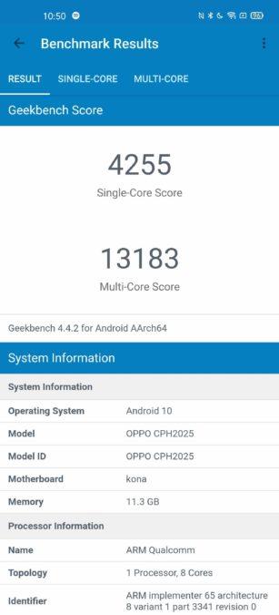Oppo Find X2 Pro Geekbench 4 Оценка