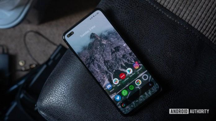 Realme X50 Pro 5G Display flat lay at angle