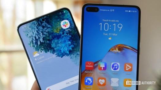 Samsung Galaxy S20 vs Huawei P40 displays