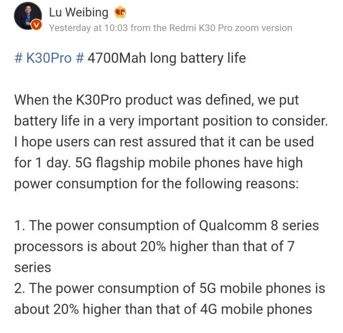 Redmi GM Lu Weibing explains 5G power consumption.