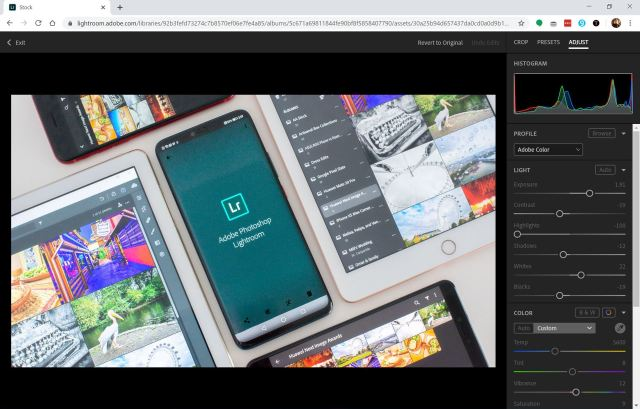Adobe Lightroom web app