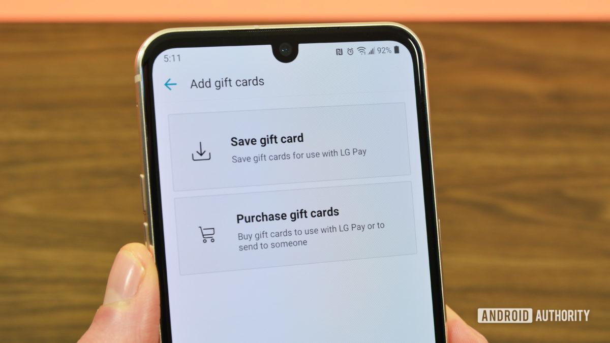 LG Pay подарочные карты