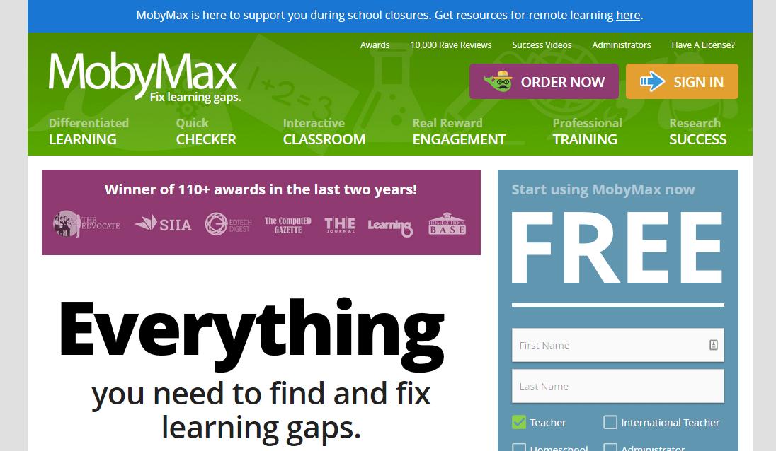 MobyMax бесплатный учебный ресурс