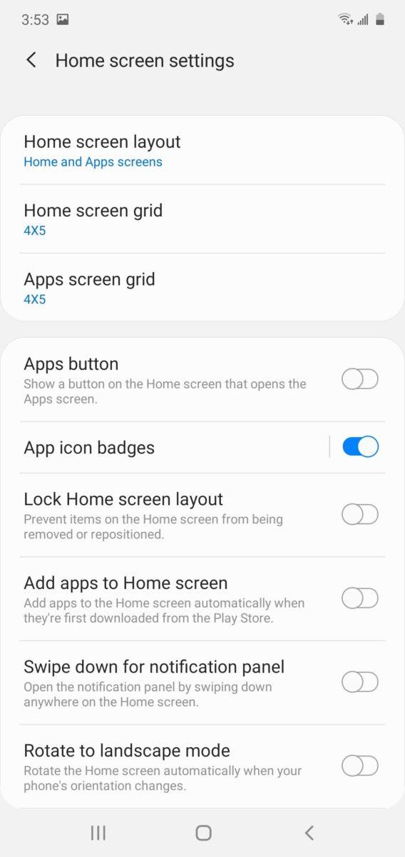 One UI Home Screen Settings