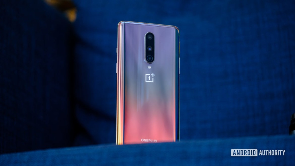 OnePlus 8 back on chair