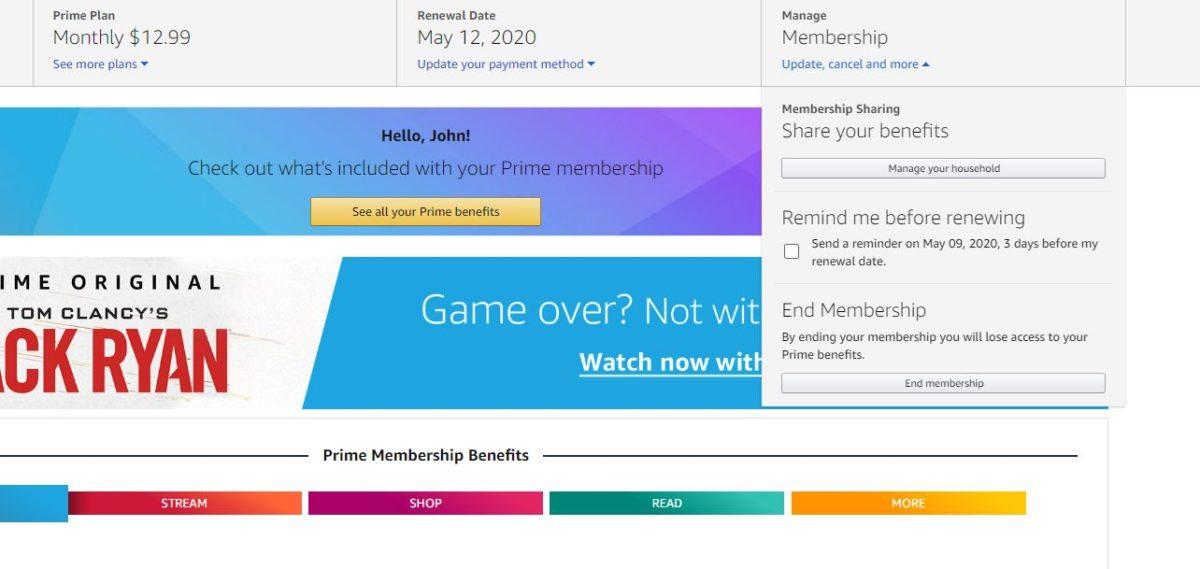 amazon prime отменить членство