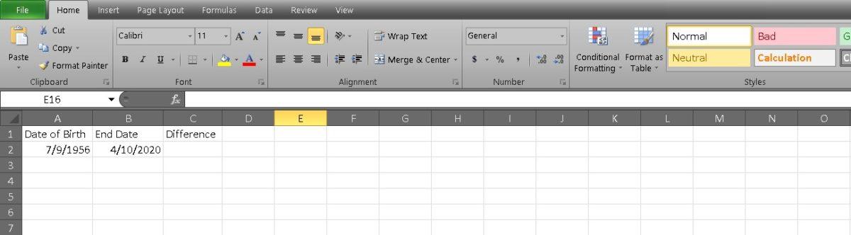 рассчитать возраст в Excel 1