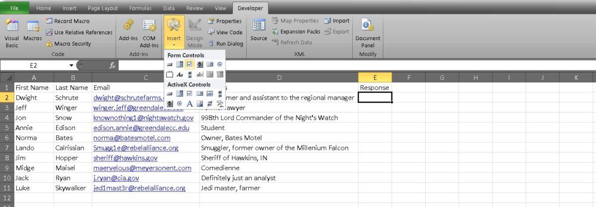 флажок Excel 3