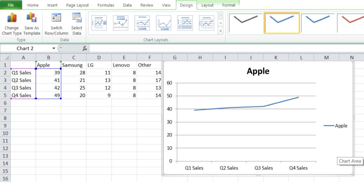 линейный график в Excel 3