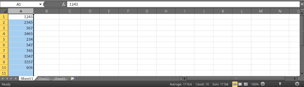 Столбец суммы Excel 1