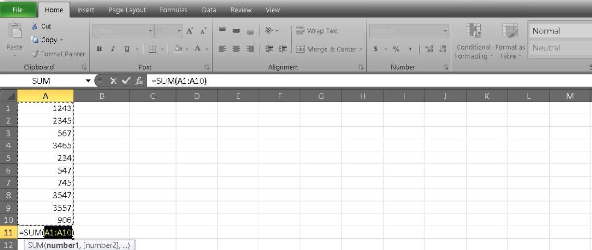 столбец сумм в Excel 3