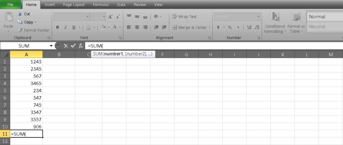 столбец сумм в Excel 6