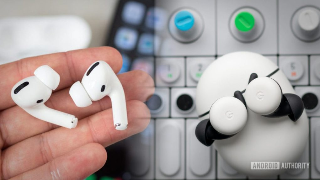 A picture of the Apple AirPods Pro vs Google Pixel Buds images blended together.