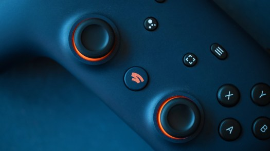 Google Stadia controller on table close up shot.