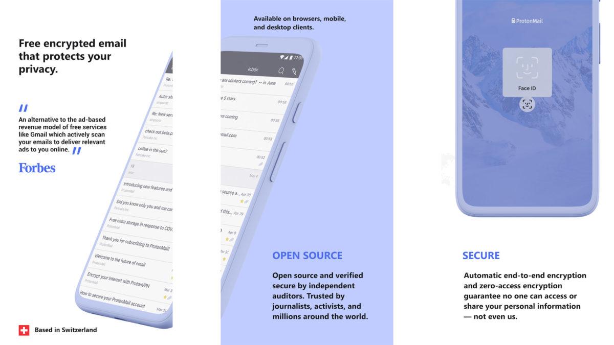 ProtonMail screenshot 2020