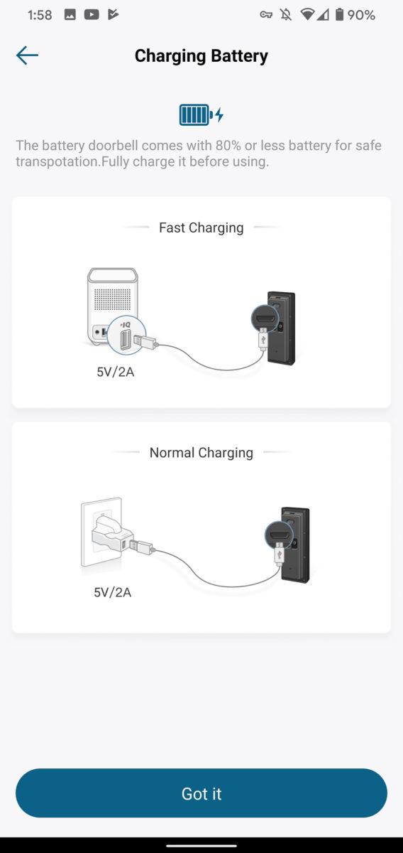Зарядка аккумулятора Eufy Video Doorbell