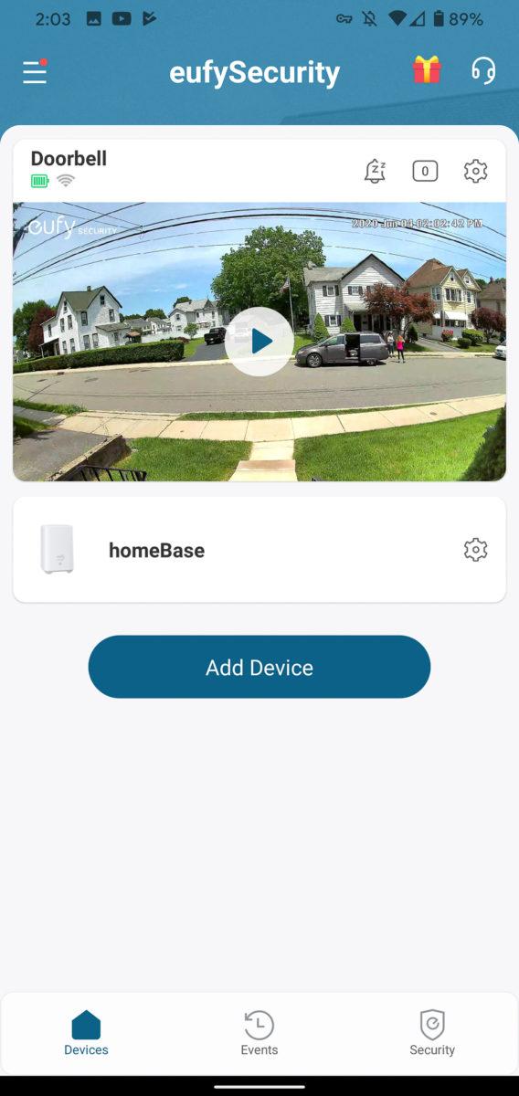 Главный экран Eufy Video Doorbell