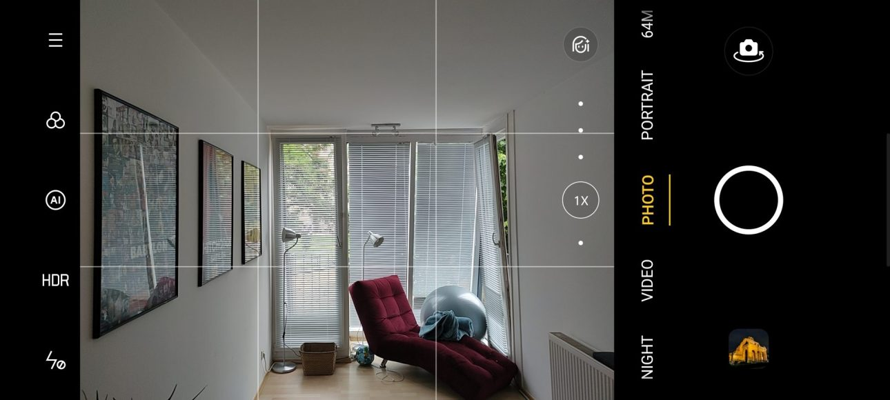 Пользовательский интерфейс приложения Realme X3 Superzoom