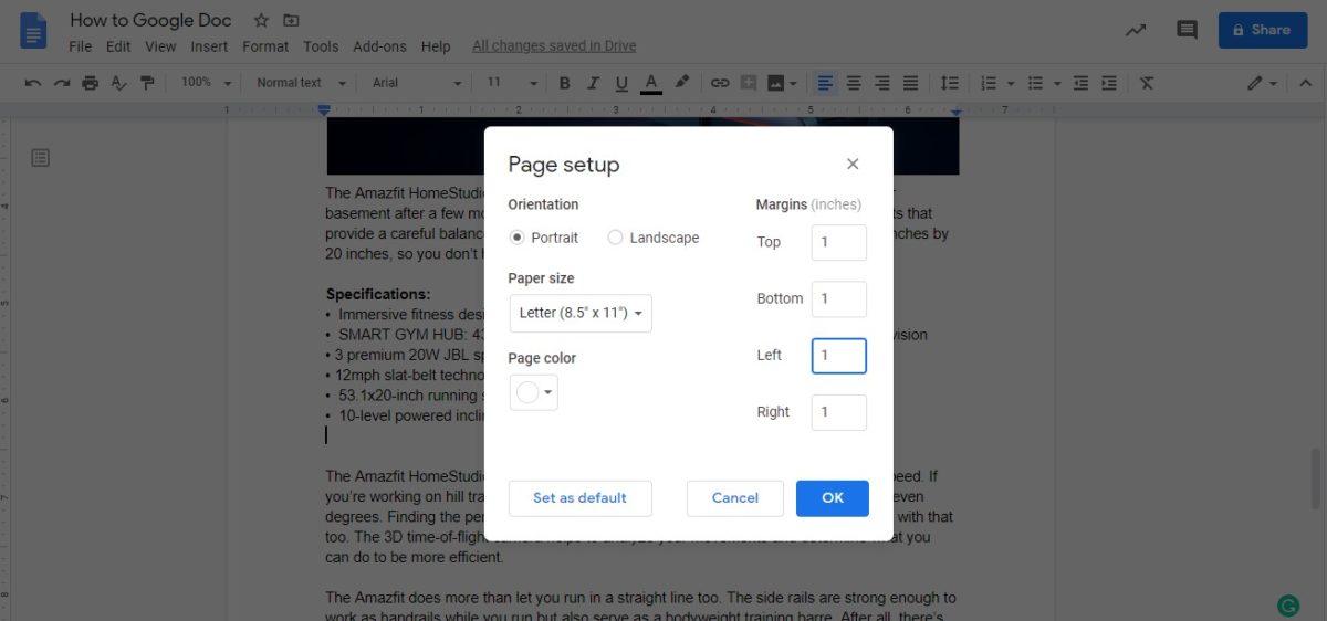изменить поля Google docs 6