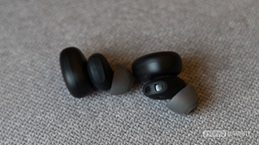Amazfit Powerbuds Review with heart rate sensor visible