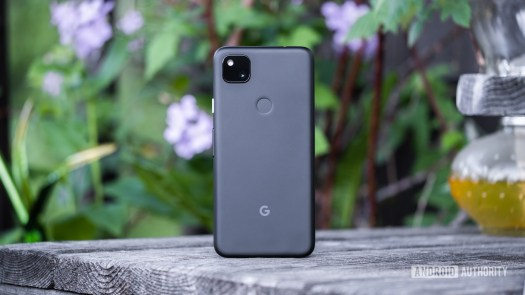 Google Pixel 4a back standing up on table 1