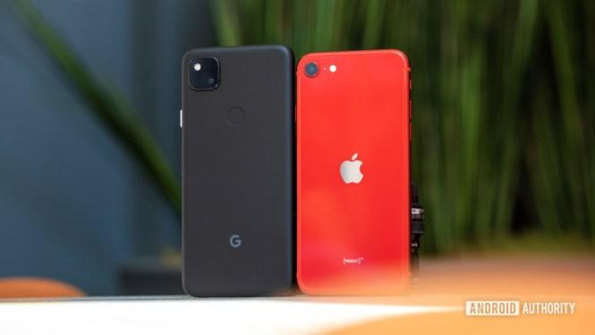 Google Pixel 4a vs iPhone SE 2020 backs 1 1