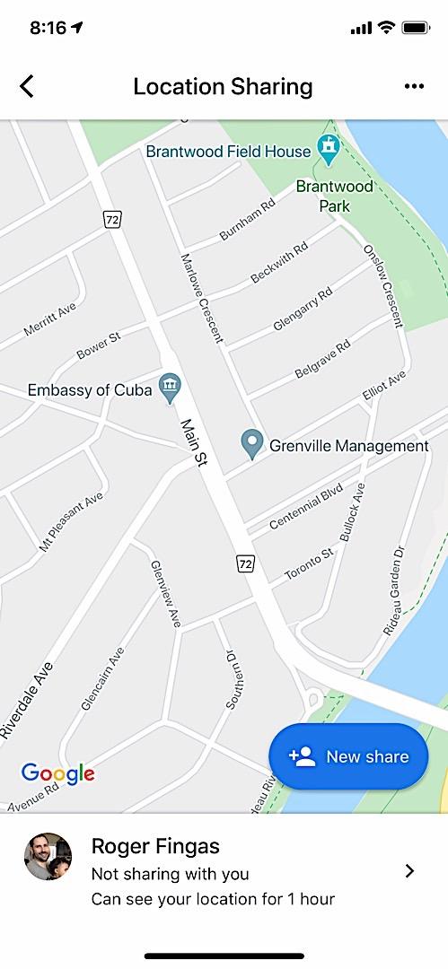 Совместное использование местоположения Google Maps на iOS