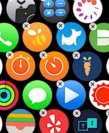 Приложения Apple Watch в режиме удаления