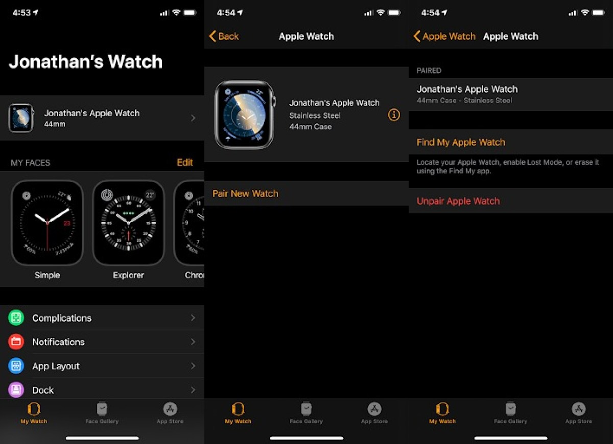 Apple Watch сброс iPhone