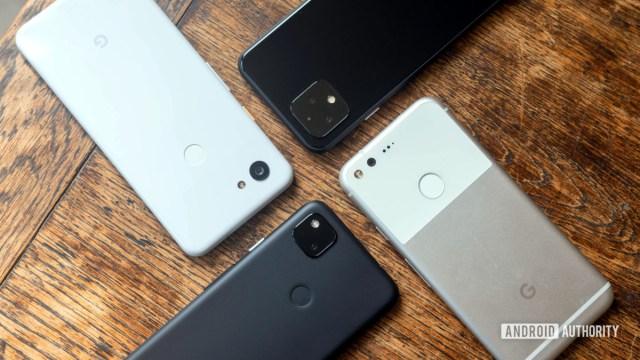 Телефоны Google Pixel бок о бок