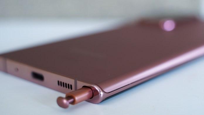 Samsung Galaxy Note 20 Ultra S Pen peeking