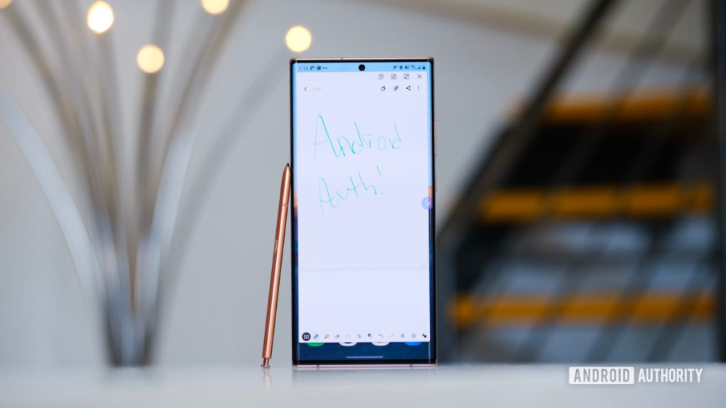 Samsung Galaxy Note 20 Ultra notes app open with pen